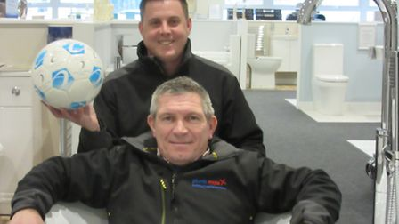 Del Preece, foreground, and Ian Cornforth of Plumb Mate at the launch of the company's sponsorship o