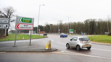 Fiveways Roundabout in Mildenhall.