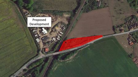 Site of the proposed storage container park on Lower Rose Lane between Diss and Palgrave. Picture: M