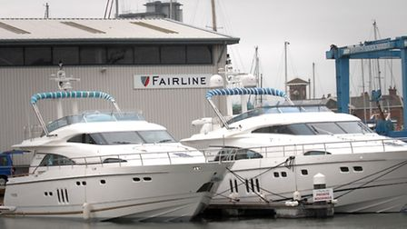 Fairline motor yachts at the test facility in Ipswich.