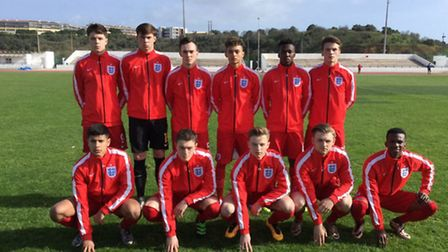 Nick Hayes, second from left and Andre Dozzell, third from right, line up for England Under 17s for