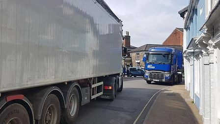 Eye town centre is frequently congested with lorries trying to negotiate its narrow streets. Picture