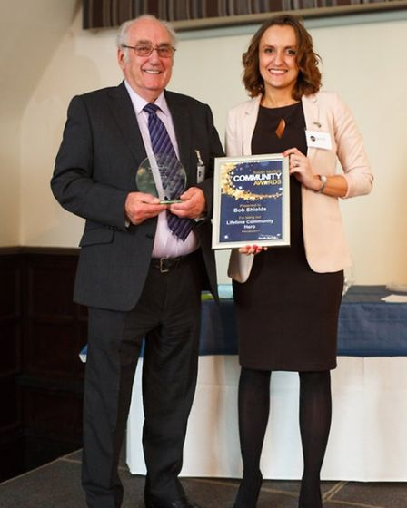 Lifetime Achievement Award winner Bob Shields at the South Norfolk Community Awards in 2017. Picture