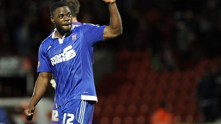 New signing James Alabi celebrates the extra-time win at Doncaster