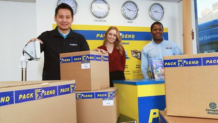 Samantha Stone from NatWest with John Dang (left) and Sim Mboniswa (right) from Pac k& Send in Colch