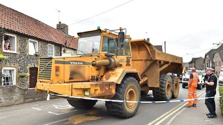 The dumper truck after it was stopped in Brandon. Picture: ANTONY KELLY