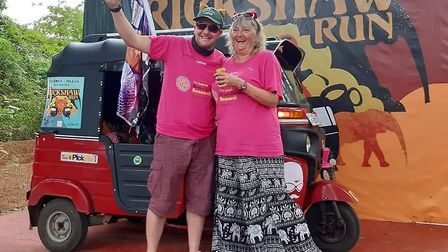 Julia and Christian Fairbrother, from Diss, after completing their fundraising Sri Lanka rickshaw ad