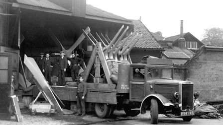Propellors being loaded at Frederick Tibbenham Ltd works in Lower Brook Street, Ipswich, during Worl