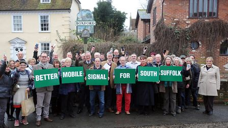 The launch of a campaign for better mobile phone signal in Boxford and South Suffolk with MP James C