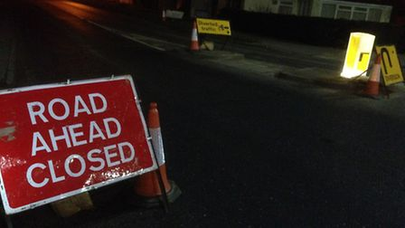 Diversion signs from the Boxted Road roundabout with the A134 at Colchester