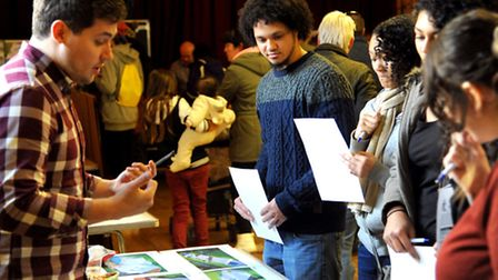 Visitors study proposed plans for the Saxmundham Skate Park at the consultation held at the towns Ma