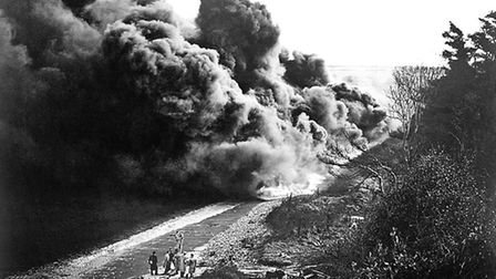 Beach flame-barrage tests were carried out by the British military to combat invasion attempts