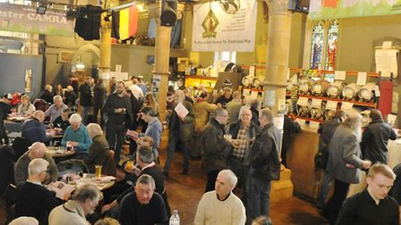 Beer enthusiasts attend Colchester CAMRA's winter beer festival.