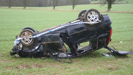 Driver unharmed as car goes off the B1508