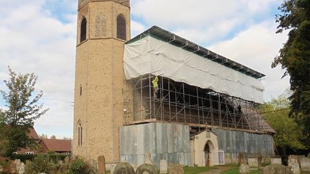 A temporary roof has been placed on Church of All Saints in Old Buckenham which is also on the at ri