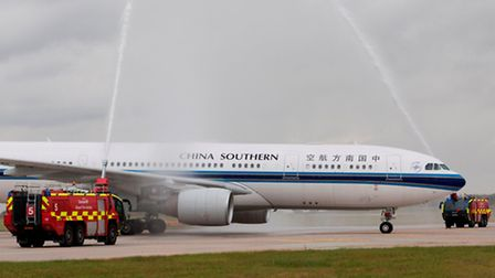 Stansted's fire service giving China Southern Airlines a traditional water arch salute to mark its f