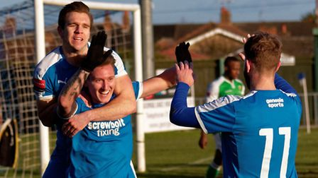 Leiston's Christy Finch celebrates his second goal of the game against VCD