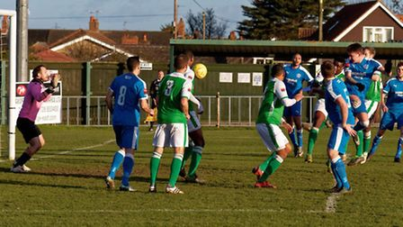 Christy Finch heads home his second for Leiston against VCD