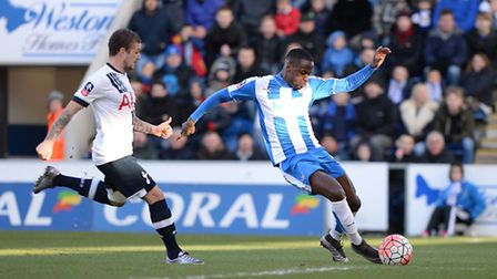 Gavin Massey's shot which hit the post and led to the Tottenham og