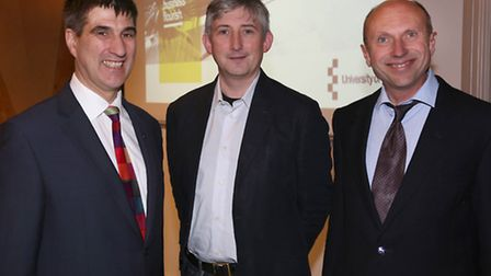 From left, University of Essex vice-chancellor Professor Anthony Forster, Open Data Institute chief