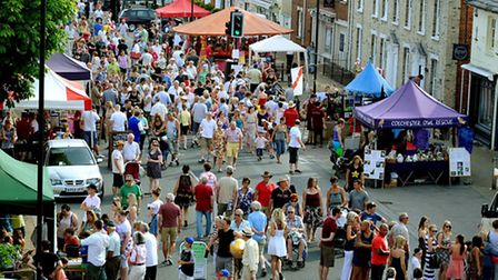 A packed Hall Street during a previous Long Melford street fair