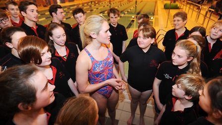 Olympic swimmer Gemma Lowe as guest coach at Newmarket and District Swimming Club for a session.