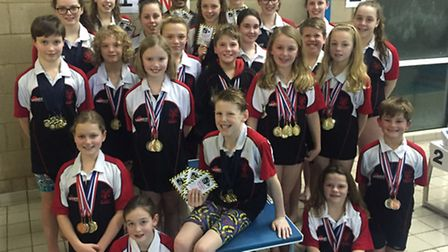 St Felix School Swimming Club squad members who competed at meets hosted by Beccles and Norwich in J
