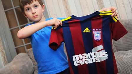 Ethan Jarvis , 8, is annoyed that Ipswich Town have only played once in their new away kit this seas
