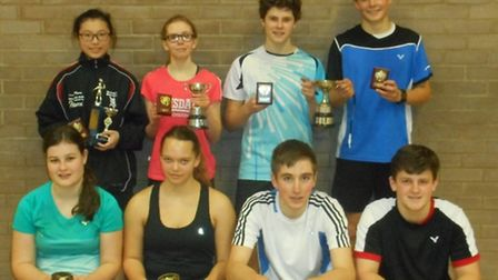 Ipswich badminton boys' and girls' doubles winners & runners-up - Top row from left to right: Patric