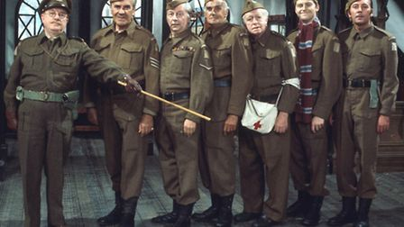 Then and Now: The classic 'Dads Army' line-up of Arthur Lowe as Capt George Mainwaring, John Le Mes