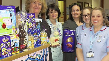 Lyndsey Hessey (centre) with Ipswich Hospital staff for last year's Easter egg collection
