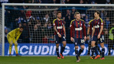 Ipswich players dejected after conceding a late goal at QPR