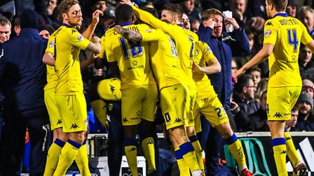 Leeds United celebrate their opening goal during the opening minute at Portman Road.