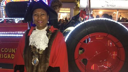 Mayor of Diss Sonia Brown at the Diss's Christmas light switch-on 2019. Photo: Emily Thomson