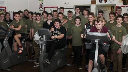 The Harleston troop of the Norfolk Army Cadet Force undertaking a charity ride at their base in Stat