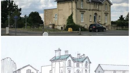The former railway station building in Harleston that would be retained as part of plans for 40 new