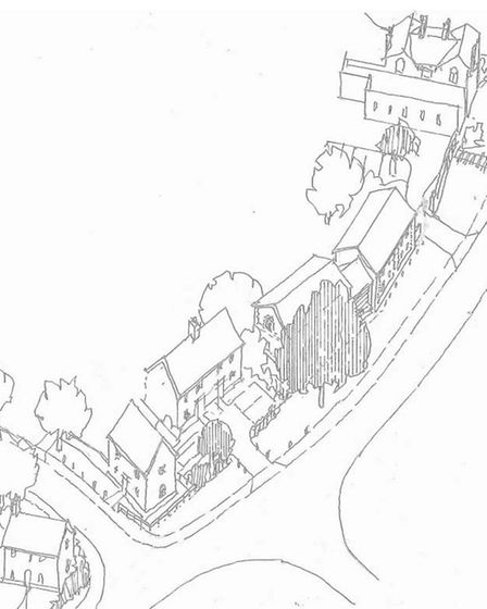 Illustrative drawing of some of the 40 new homes on land off Station Hill in Harleston. Picture: Cod