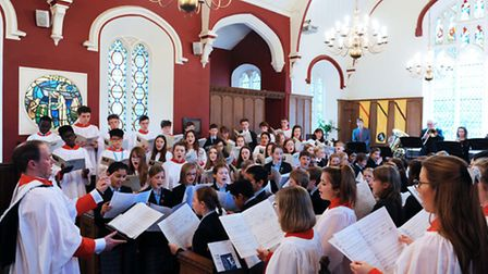 The Ipswich School Chapel Choir and Prep Chamber Choir performed a specially commissioned piece duri