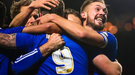 Luke Chambers (right) and teammates celebrate Daryl Murphy's (9) goal during the Ipswich Town v Wolv