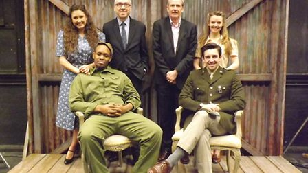 Cast members of the Eastern Angles show Somewhere in England with sponsors Peter Meades from Abellio