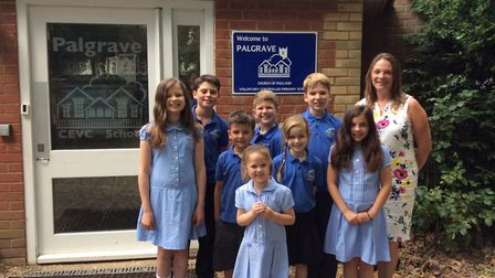 Headteacher Julia Waters and pupils from Palgrave Primary School pictured in 2017. Picture: Nikki La