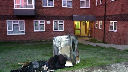 A file picture of a burnt out tumble dryer.