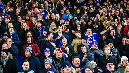 Ipswich Town fans celebrate the 2-1 victory after the final whistle of the Ipswich Town V Leeds Unit