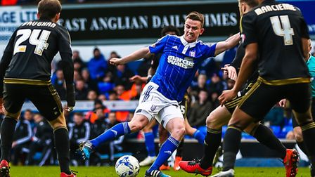 Kevin Foley in action during the Ipswich Town v Nottingham Forest (Championship) match at Portman Ro