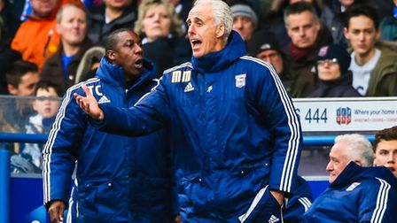 Town manager Mick McCarthy and his assistant Terry Connor animated on the touchline during the Ipswi