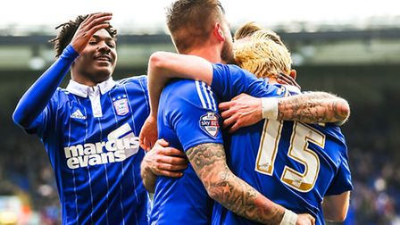 Town players congratulate Ben Pringle after he had put Ipswich 1-0 up in the Ipswich Town v Nottingh