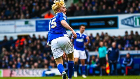 Ben Pringle scores to put Ipswich Town 1-0 up in the Ipswich Town v Nottingham Forest (Championship