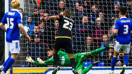 Bartosz Bialkowski makes a save early in the Ipswich Town v Nottingham Forest (Championship) match a