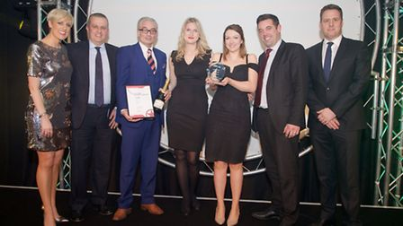 The Stansted Airport team receiving the Best London Airport award from BBC Breakfast presenter Steph