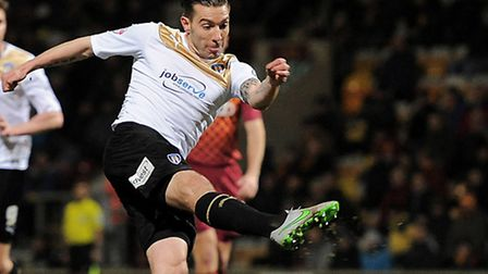 Darren Ambrose, went close in the first half for the U's at Vale Park today